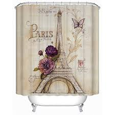 Themed Fabric Shower Curtains Uphome Vintage Themed Light Brown Eiffel Tower Bathroom