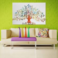 Home Wall Decoration 75x50cm Picture Abstract Colorful Leafy Tree Unframed Canvas Print
