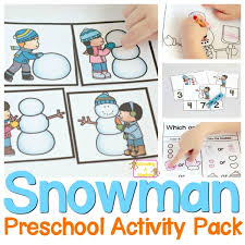 no prep snowman printables pack for preschoolers