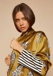 the capability mona luxury silk robe in stripe and zebra print