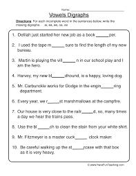 vowel digraphs worksheet 1