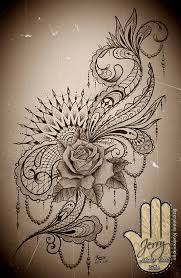 feminine rose mandala tattoo idea design with lace and mendi