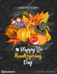 happy thanksgiving day vector greeting card with autumn fruit
