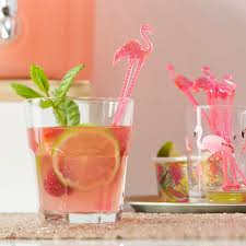 pink flamingo drink cocktail party stirrers by ginger ray