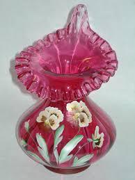 Antique Cranberry Glass Vase Vintage Fenton Cranberry Ruffled Hand Painted Signed Art Vase