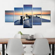 5 panel pier with wood plank road wall painting seaside dusk