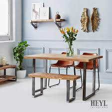 Industrial Kitchen Table Furniture Industrial Reclaimed Wood U Base Dining Table