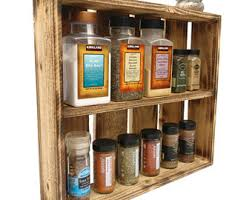 Wall Spice Racks For Kitchen Rustic Spice Rack Etsy