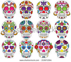 vector set day dead sugar skulls stock vector 153671594
