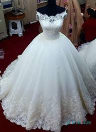 white wedding gowns h1391 dreamy lace shoulder princess gown wedding dress