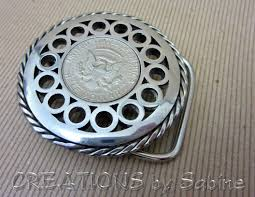 Handmade Belts And Buckles - handmade belt buckle with half dollar coin insert stainless steel