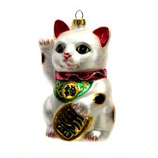lucky cat glass christmas ornament 4 25
