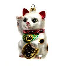 lucky cat glass christmas ornament 4 25