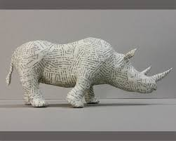 rhino paper mache sculpture animal home decor recycled paper