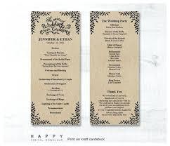 wedding program size template passport wedding program template rustic leaves ceremony