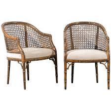 beautiful vintage faux bamboo cane barrel back chairs 4