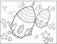 rocketship flies planet stars