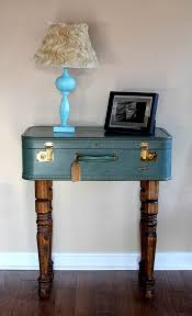 turn vintage suitcases into a unique side table