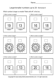 larger smaller number worksheets