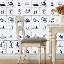 delft tile wallpaper dutch tile blue and white vintage look