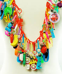 jewellery charm necklace images Ultimate 80 39 s charm necklace fringe statement necklace ooak jpg