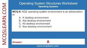 operating system structures worksheet mcqslearn free videos