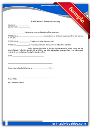 Form Of Power Of Attorney by Free Printable Ratification Of Power Of Attorney Form Generic