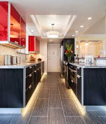 led strip lights under cabinet kitchen contemporary with ceiling