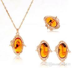 amber necklace pendant images 2018 trendy rose gold plated women amber jewelry set pendant jpg