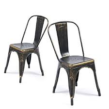 Black Metal Chairs Dining Belleze Set Of 4 Metal Chairs Side Dining Steel
