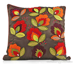 chocolate brown floral felt applique cushion cushions uk