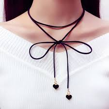 fashion bow necklace images Black heart pendant string bow collar chokers necklace women 39 s jpg