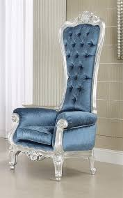 Silver Accent Chair Royal Style Silver Blue Accent Chair High Back 65 H