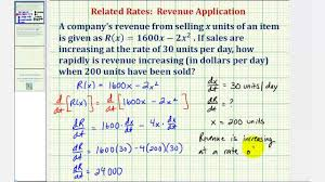 How To Find The Rate Of Change In A Table Ex Related Rates Find The Rate Of Change Of Revenue