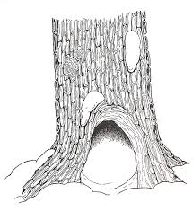 mitten hollow tree base coloring page