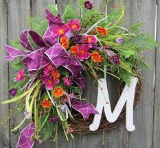 springtime wreaths spring wreath spring pink purple orange wreath front door
