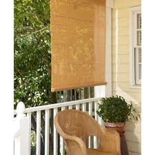 L Shade 36 In W X 72 In L Woodgrain Exterior Roll Up Patio Sun Shade