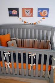 Orange Crib Bedding Orange Navy Sports Theme Crib Bedding In A Grey Nursery Sports