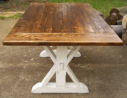 reclaimed wood trestle x farmhouse table by wonderlandwoodworks
