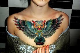 owl chest tattoo นกฮ ก pinterest