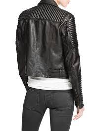 black leather biker jacket mango leather biker jacket in black lyst