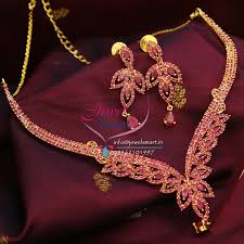 gold stones necklace images Indian traditional gold plated fashion jewellery ruby stones jpg