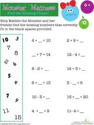 math monster madness worksheet education com