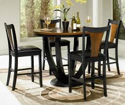 dining room full black tall kitchen table with black leather