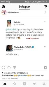 What To Get Your Sister For Her Wedding See How Timi Dakolo Responds To Fan Who Wants Free Performance At