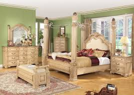 king traditional poster canopy bed w leather 5 piece bedroom set