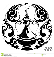 aquarius zodiac vector sign tattoo design stock photography