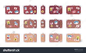 vintage brown suitcase set luggage stickers stock vector 645443035