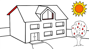 how to draw house coloring for kids house drawing and coloring