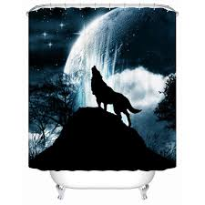 west howling wolf full moon shower shower curtains